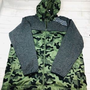 Mens Adidas ST1 Camo Full Zip Jacket 2XL Fleece